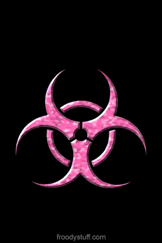 iPhone wallpaper from FroodyStuff.com: Biohazard Hot Pink