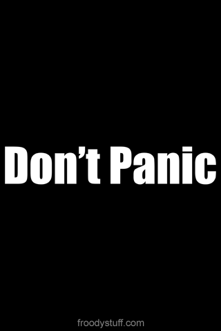 iPhone wallpaper from FroodyStuff.com: Don't Panic